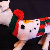 """XS Small Hand Knit Xmas Dog Jumper 10"""" Chihuahua, Teacup Puppy Snowman"""
