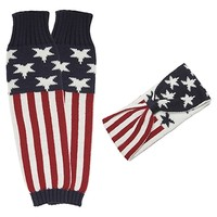 HauteChicWebstore Patriotic Ladies American Flag Knit Leg Warmers/Headband Set - www.shophcw.com