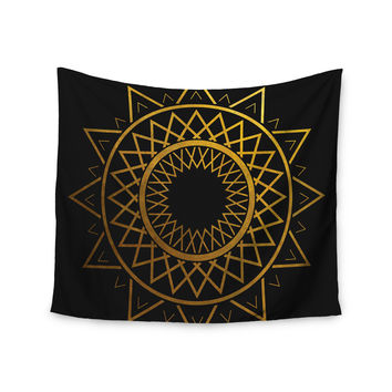 "Matt Eklund ""Gilded Sundial"" Gold Black Wall Tapestry"