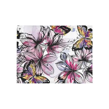 Floral seamless wallpaper pattern with engraved butterfly Area Rug 5'3''x4'