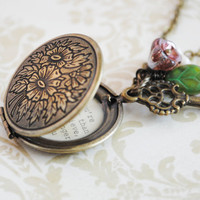 Women's Locket - Friendship Jewelry - Winnie the Pooh Quote - You're braver than you believe, and stronger than you seem, and smarter
