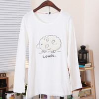 Spring Cute Fluffy Sheep Long Sleeves Tee