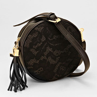 Lacey Crossbody Rose Design Handbag BLACK