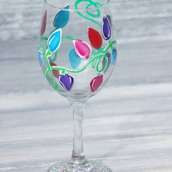 Christmas Lights Wine Glass / Hand Painted Wine Glass