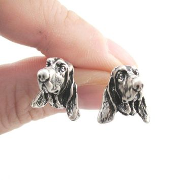 Realistic Basset Hound Puppy Face Shaped Stud Earrings in Silver | Gifts for Dog Lovers