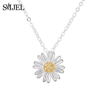 SMJEL Accessories Jewelry Tiny Daisy Flower Pendants Necklaces for Women Silver Sunflower Chain Necklace Best Friend Gifts