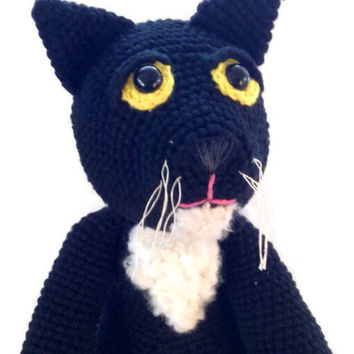 crochet black cat plush, OOAK rag doll, eco-friendly, scented, amigurumi animal, wool stuffed, cotton