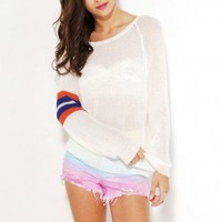 Ribbon Knit Varsity Sweater