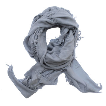 Distressed Scarf in Silver Blue