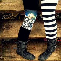 Black and white stripe split leg Beetlejuice Leggings pants lycra