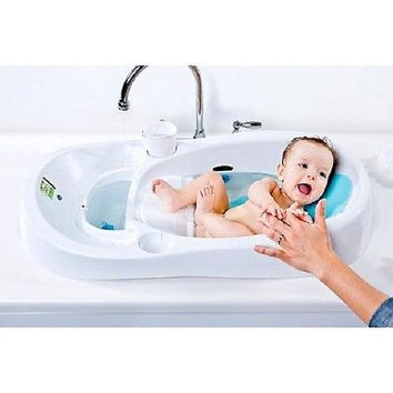 NEW Newborn Adjustable Infant Baby Toddler Bath Tub Seat with Drain