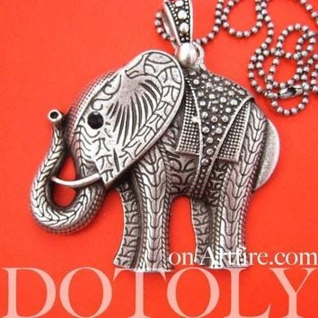 Large Detailed Elephant Pendant Necklace in Silver | Animal Jewelry