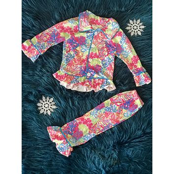 Fall Colorful Holiday Button Down Cotton Pajamas