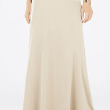 Tan BCBG Jaymee Wide-Banded A-Line Skirt