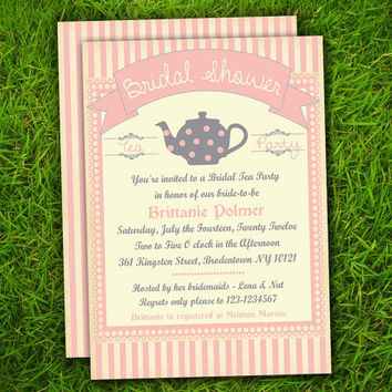 Vintage Pink Stripes Lace Teapot Bridal Shower / Tea Party / Kitchen Shower / Baby Shower / Birthday Invitation - Double Sided Printable