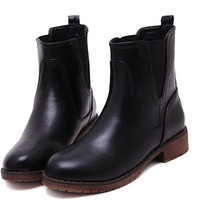 Round Low Heel Street Middle Cylinder Martin Boots