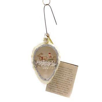 Holiday Ornaments PINECONE INDENT WITH SANTA Glass Vintage Tinsel Lg1751 White