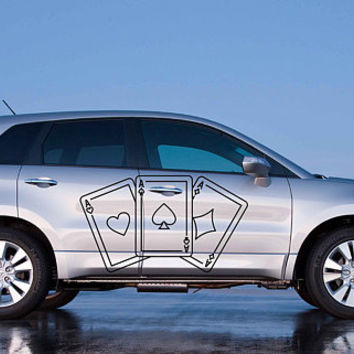 playing cards car hood decal aces Car Decals aces playing cards Car Truck aces Side Body Graphics Decal for car kikcar103