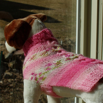 Dog Sweater Hand Knit Rosebud Cable Medium by jenya2 on Etsy