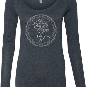 Womens Yoga Shirt Circle Ganesha White Print Lightweight Long Sleeve