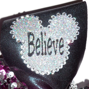 Disney Inspired Cheer Bow holographic fabric, crystals and  reversible sequins