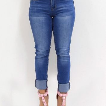'Pinna' YMI Blue Solid Mid-Rise Jeans