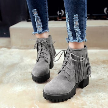 Lace Up Faux Suede Tassel Ankle Boots Chunky Heel 4130