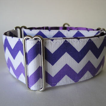 Chevron Martingale Dog Collar, 2 inch Martingale Collar, Purple Chevron Dog Collar, Custom Dog Collar, Greyhound Collar
