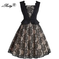Vintage Lace Dress 2018 Spring Square Collar Lace Floral Stitching Party Dress Sleeveless Swing Hepburn 50s 60s Rockabilly Dress