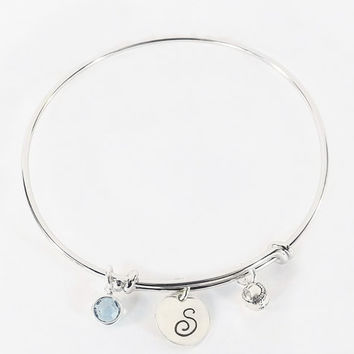 Hand Stamped Softball Baseball Initial Charm Bracelet Bangle with Sterling Silver Baseball Softball Charm and Swarovski Crystal Birthstone