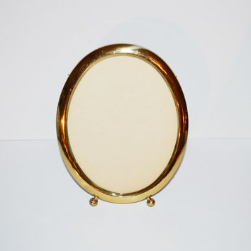 Vintage Brass Picture Frames Gold Picture Frames Oval Picture Frame Footed Picture Frame Wedding Décor Wedding Frames for Table Numbers