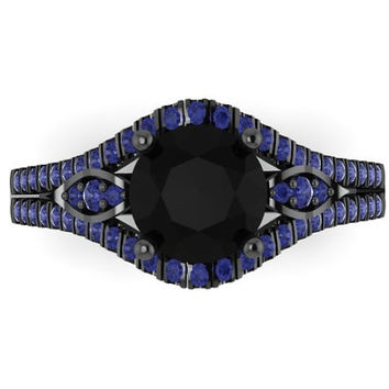 Blue Sapphire Engagement Ring 14K Black Gold Diamond Wedding Ring with 1.20ct Round Black Diamond Center - V1000