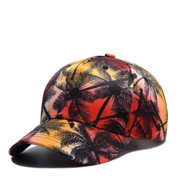 Palm Tree Embroidered Hat Baseball Cap Polo Style Unconstructed