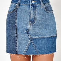 PacSun Denim Patchwork Skirt at PacSun.com