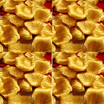 Golden Color Artificial Silk Rose Petals Wedding Party Decorations Aisle Runners Flower Girl Tossing Table FL003 wedding petal