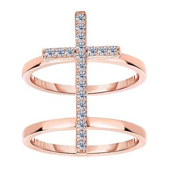 Sterling Silver With CZ And Rose Tone Finish Cross Design Ring