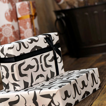 Mustache Gift Wrap Bulk 25% OFF SALE - Wrapping Paper Funny Men Moustache Movember