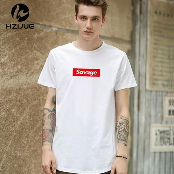 HZIJUE 2018 s/s men extended kanye t-shirt cotton swag mens t shirts savage tshirt solid hip hop T shirt men's tees tops