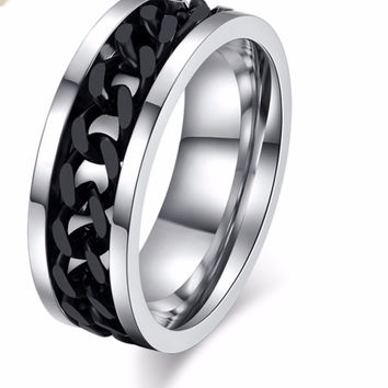 Stainless Steel Black Chain Mens' Ring