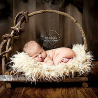 Cream Faux FUR Newborn Photo Props, Baby Blanket - Blondie - Newborn Prop, Photography Props, Like Flokati Wool, Baby Props, Long Fur