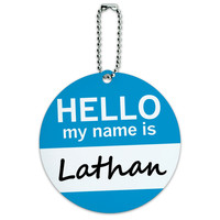 Lathan Hello My Name Is Round ID Card Luggage Tag