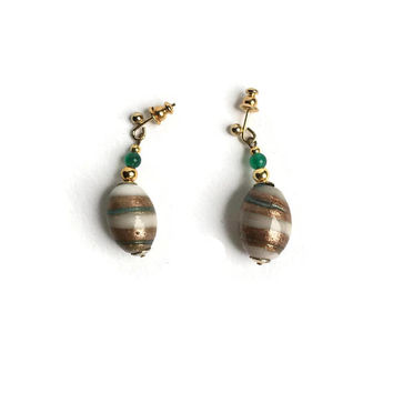 Green Agate Earrings | Shimmery Drop Earrings For Pierced Ears | Unused 80's Vintage Earrings | Large Glass Bead And Small Agate Bead