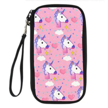Unicorn Clutch Wallet (pink with unicorns and hearts)