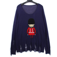 Cartoon Embroidery Mosaic Hollow Loose Knit Sweater