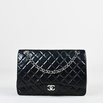 "Chanel Black Leather ""Maxi Classic Single Flap"" Shoulder Bag"