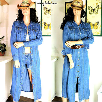 90s denim duster coat / size S / denim duster / long denim dress / long jean dress duster / boho grunge long sleeve long denim dress