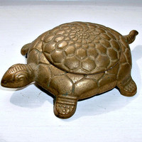 Turtle Trinket Holder Metal Tortoise Figural Hidden Storage Ashtray Made In Italy Vintage Reptile