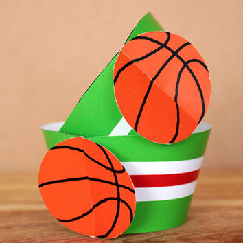 Printable 3D Basketball Sports Party Cupcake Wrapper Set with a green & white horizontal stripe pattern INSTANT DOWNLOAD