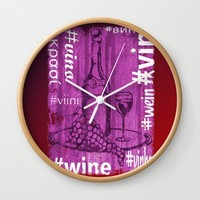 Hashtag Wine Wall Clock by Alan Hogan