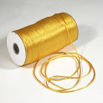 Satin Rat Tail Cord Chinese Knot, 2mm, 200-yard, Light Gold